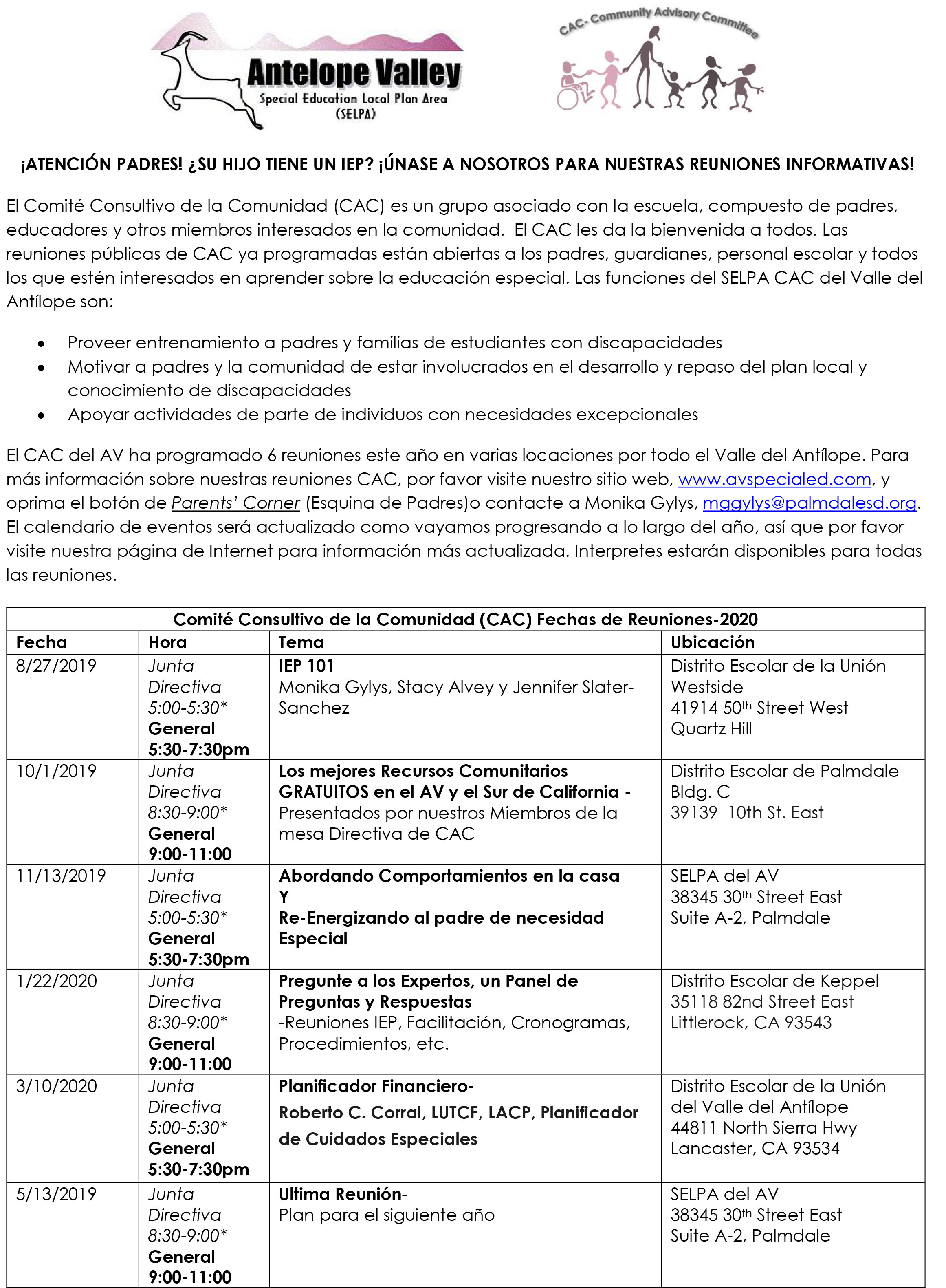 CAC (COMMUNITY ADVISORY COMMITTEE) Meeting DATES 2019-2020